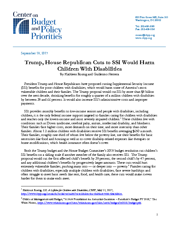 Trump, House Republican Cuts to SSI Would Harm Children With