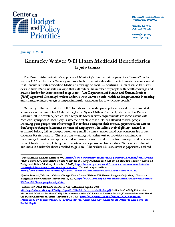 Kentucky Waiver Will Harm Medicaid Beneficiaries | Center on