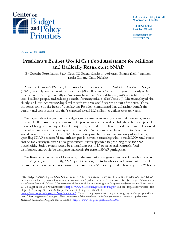 Presidents Budget Would Cut Food Assistance For Millions And