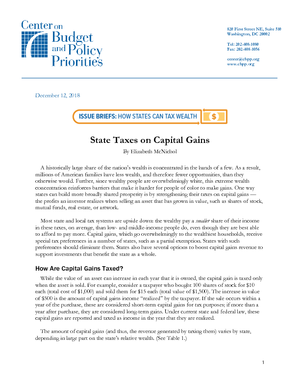 State Taxes on Capital Gains | Center on Budget and Policy Priorities