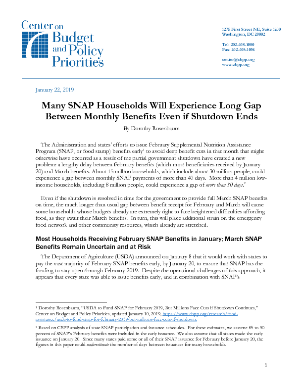 Many SNAP Households Will Experience Long Gap Between Monthly
