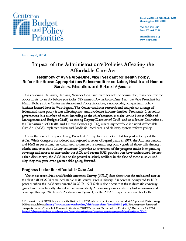 Impact of the Administration's Policies Affecting the