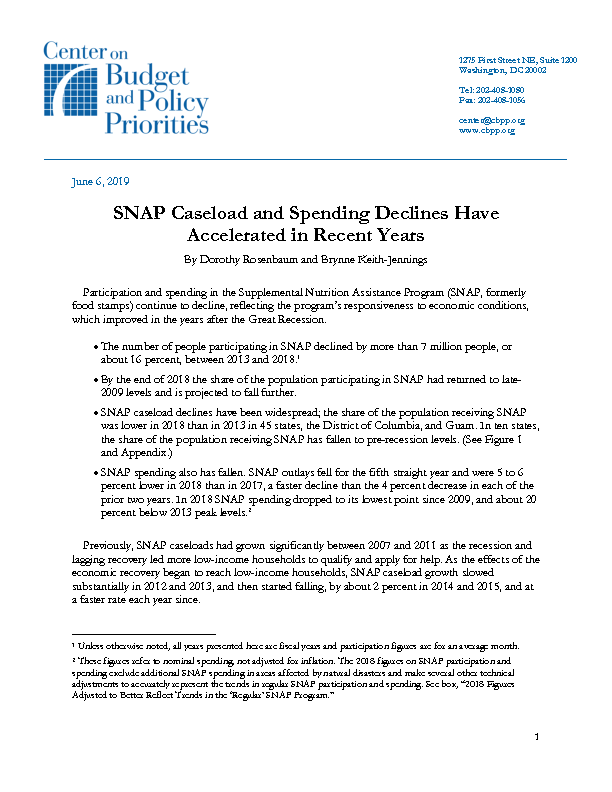 SNAP Caseload and Spending Declines Have Accelerated in