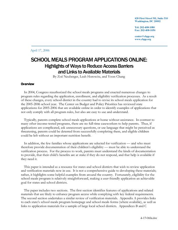 School Meals Program Applications Online: Highlights of Ways