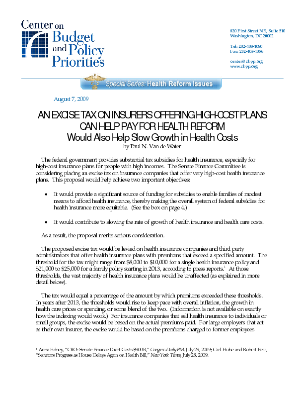 An Excise Tax on Insurers Offering High-Cost Plans Can Help Pay for Health Reform | Center on ...