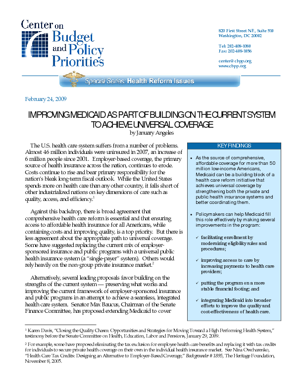 Improving Medicaid As Part Of Building On The Current System To