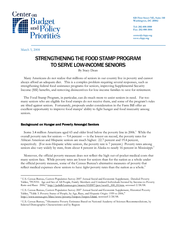 Strengthening The Food Stamp Program To Serve Low Income Seniors