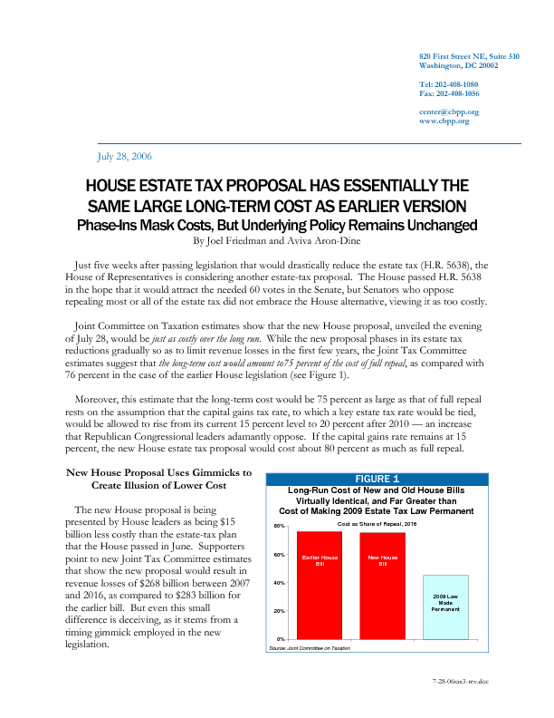 House Estate Tax Proposal Has Essentially The Same Large Long Term