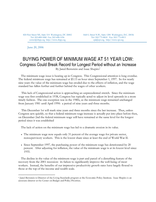 Buying Power Of Minimum Wage At 51 Year Low Center On Budget And