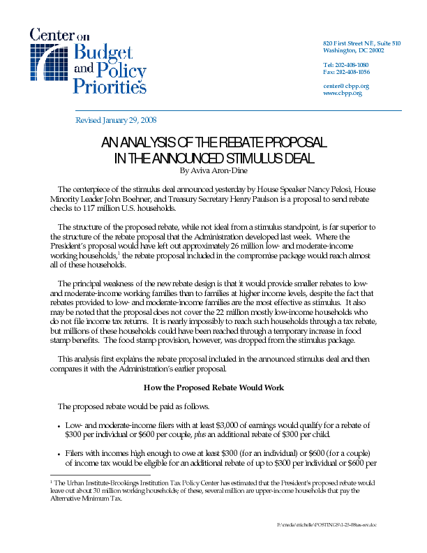 An Analysis Of The Rebate Proposal In The Announced Stimulus Deal