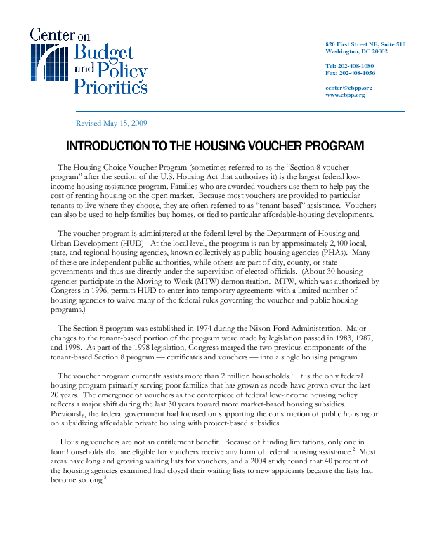Introduction To The Housing Voucher Program Center On Budget And