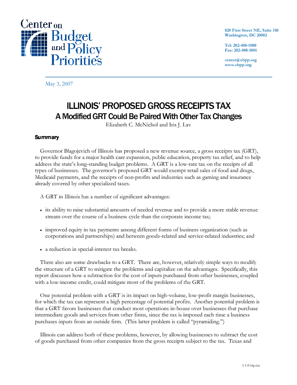 Illinois' Proposed Gross Receipts Tax   Center on Budget and