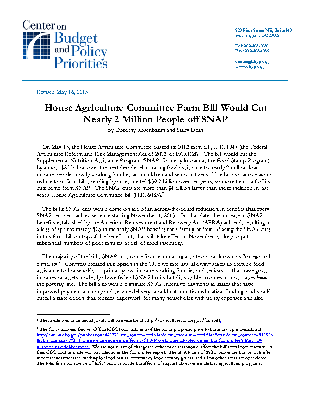 House Agriculture Committee Farm Bill Would Cut Nearly 2