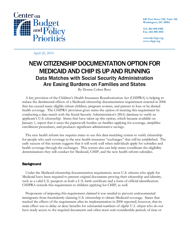 New Citizenship Documentation Option For Medicaid And Chip Is Up And