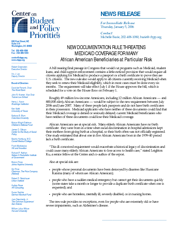 Press Release New Documentation Rule Threatens Medicaid Coverage