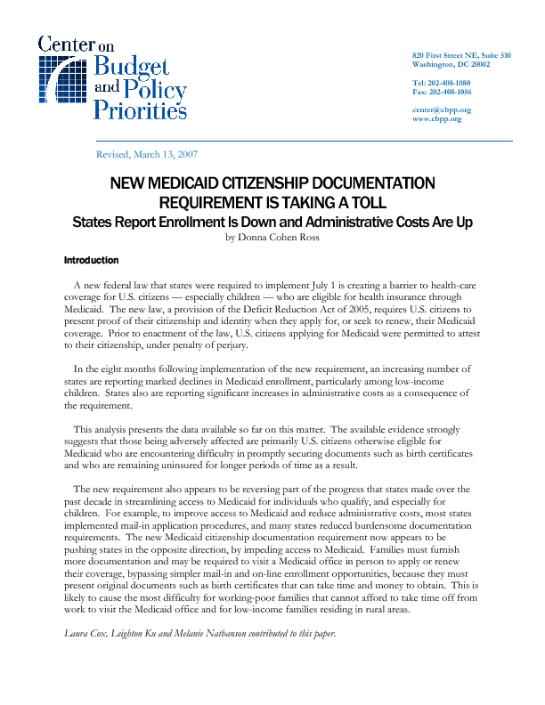 New Medicaid Citizenship Documentation Requirement is Taking