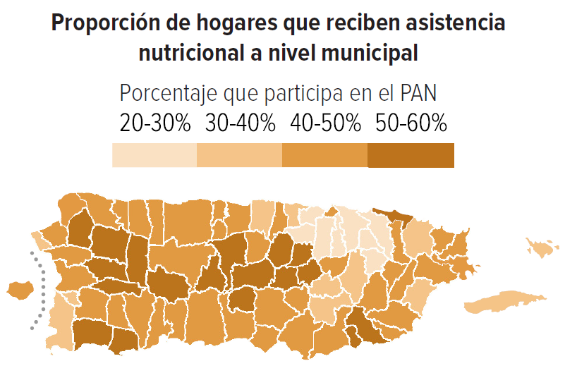 Share of households receiving nutrition assistance by municipality