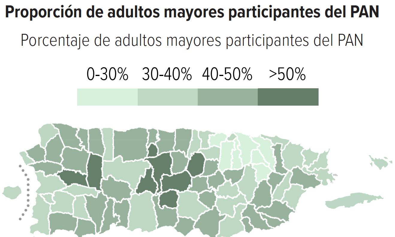 Proporción de adultos mayores participantes del PAN