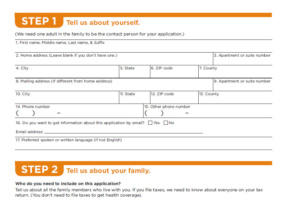 hhs application for health insurance